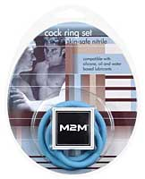 M2M Nitrile Cock Ring Set - Pack of 3 Blue