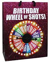 Birthday Wheel of Shots....Spinner Gift Bag