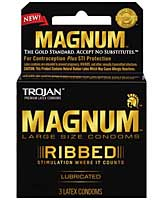 New Trojan Magnum Ribbed Condoms - Box of 3