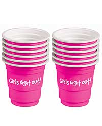 Girls Night Out! Bachelorette Plastic Shot Glasses - Pink Set of