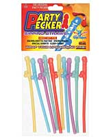 Party Pecker Straws - Asst. Colors Pack of 10