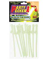 Party Pecker Sipping Straws - Glow in the Dark Pack of 10