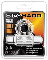 Blush Stay Hard 10 Function Vibrating Bull Ring Cock Ring - Clea
