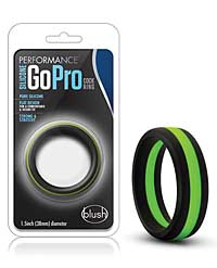 Blush Performance Silicone Go Pro Cock Ring - Black/Green