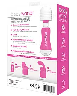 Bodywand Rechargeable Mini Massager w/Attch. - Pink