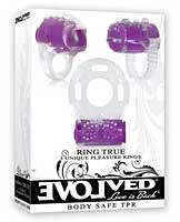 Evolved Ring True Unique Pleasure Rings Kit - Clear/Purple Pack