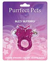 Purrfect Pet Buzzy Butterfly Stimulating Pleasure Ring - Purple
