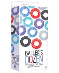 The 9's Baller's Dozen 12pc Cockring Set - Asst. Colors