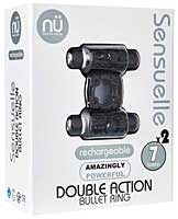 Sensuelle Double Action Cockring - 2 X 7 Function Black