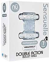 Sensuelle Double Action Cockring - 2 X 7 Function Clear
