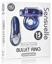 Sensuelle Remote Control Rechageable Bullet Ring - Blue