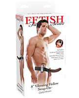 "Fetish Fantasy Series 8"" Vibrating Hollow Strap On - Brown"