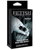 Limited Edition Fetish Fantasy Black Glass Ben-Wa Balls - Medium