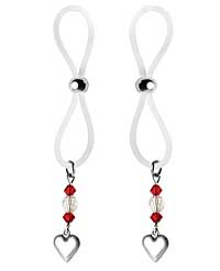 Bijoux de Nip Nipple Halos Heart Charm - Red/Clear