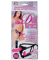 Dual Harness Strap-On w/Dong & Plug - Pink