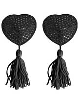 Shots Ouch Heart Shaped Nipple Tassels - Black