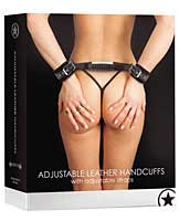 Shots Ouch Adjustable Leather Handcuffs - Black