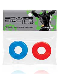 Ignite Power Stretch Donuts Cockrings - Pack of 2 Red/Blue