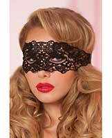 Holiday/Valentines Lace Eye Mask w/Satin Ribbon Ties Black O/S