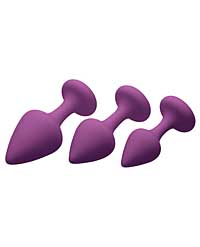 Pleasures Silky Silicone Anal Plugs - Purple Pack of 3