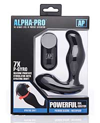 Alpha Pro 7x P-Gyro Prostate Stimulator w/Rotating Shaft - Black