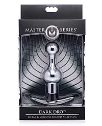 Master Series Dark Drop Metal & Silicone Beaded Anal Plug
