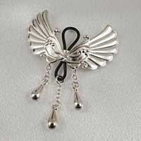 Non-Piercing Silver Wings of Desire Nipple Jewelry