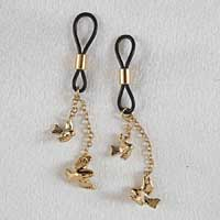 AS92 Women's Non-Piercing Gold Nipple Rings with Bird Pendants