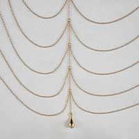 BUS40 Women's Draping Gold Chains Breast Chain with Pendant