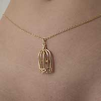 CHT124 Gold Waist Chain with Bird in a Cage Pendant