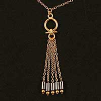 CHT91 Women's Egyptian gold waist chain with hematite pendant