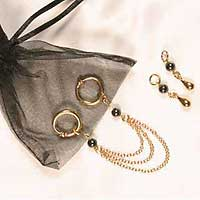 Non-piercing 3 in 1 labia ring gift set gold/hematite pearl
