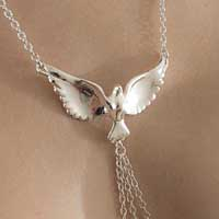 COS75 Silver Women's Dove Neck Chain with Pendant and Non-Pierci