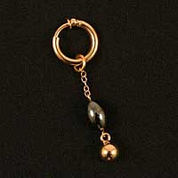 PA52 Men's non-piercing Gold ring with Hematite pendant