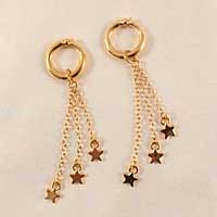 PA55 Gold Stars Non-Piercing Labia Rings