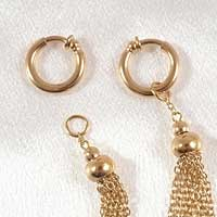 Gold 2 in 1 Non-Piercing Labia Rings with Tassel