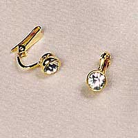 Non-piercing labia clips with crystal, pair, in Gold.