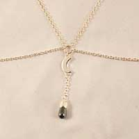 SG46 Silver Women's Cat and Moon Breast Chain with Hematite Pend