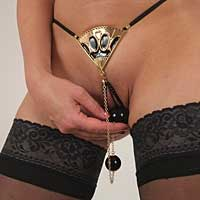 Gold Fan G-String with Dual Insertable Orbs