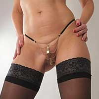 Gold Chains G-String with Padlock Charm