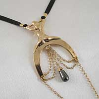 ST164 Women's Lady Luck G-String with Hematite Pendant in Gold