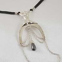 ST165 Women's Lady Luck G-String with Hematite Pendant in Silver