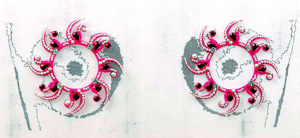 Swirl Nipple Crystal Tattoos Jeweled HOT PINK CLEARANCE