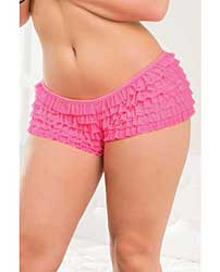 Ruffle Shorts w/Back Bow Detail Neon Pink XXL