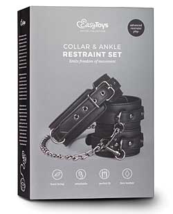 Easy Toys Leather Collar w/Anklecuff - Black