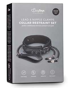 Easy Toys Leather Collar w/Nipple Chains - Black