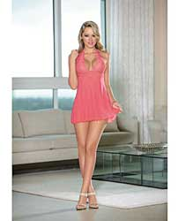 Sheer Halter Tie Baby Doll w/Lace Coral Pink XL
