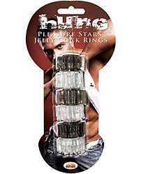 Hung Pleasure Stars Jelly Cock Rings - Black/Clear
