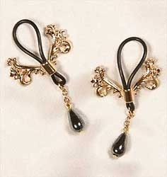 Non-piercing nipple rings, ornate crest, with hematite pendant,