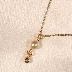 Wrist/ankle chain, gold and pearl pendant